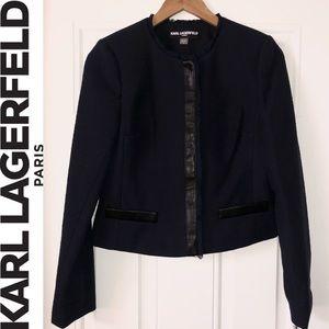 Karl Lagerfeld Paris Navy Blue Fringe Blazer